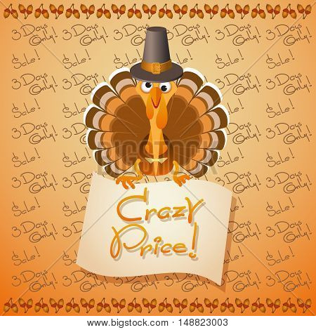 Thanksgiving Day sale illustration. Vector card with cute Turkey Birds, acorns and text Crazy Price.