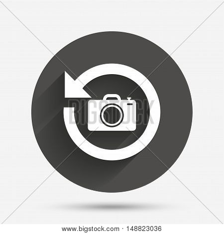 Front photo camera sign icon. Digital photo camera symbol. Change front to back. Circle flat button with shadow. Vector