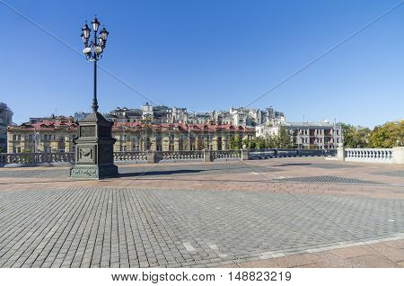 Lamp post on the square near the Christ the Savior Cathedral Moscow Russia. Sunny morning in August.