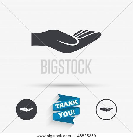Donation hand sign icon. Charity or endowment symbol. Human helping hand palm. Flat icons. Buttons with icons. Thank you ribbon. Vector