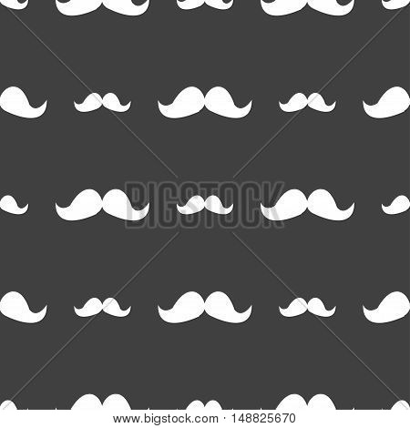 Retro Moustache Icon Sign. Seamless Pattern On A Gray Background. Vector