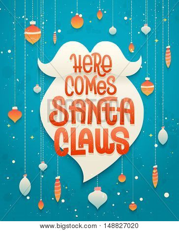 Here Comes Santa Claus Lettering On White Beard Silhouette, Typographic Greeting Card  For Christmas