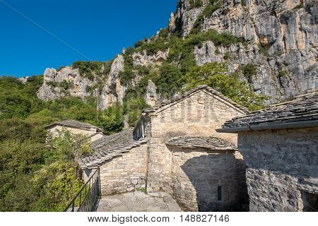 Agia Paraskevi monastery is abandoned monastery situated on the edge of Vikos Gorge in the region of Zagori. Monodendri Greece