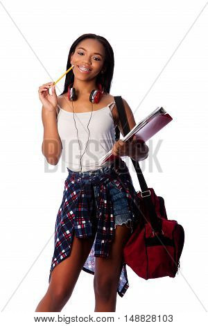 Happy Student With Notepad Binders Thinking
