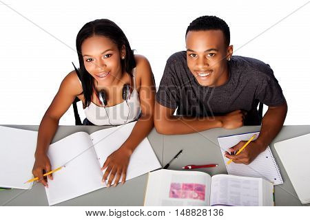 Two Happy Academic Students Studying Together