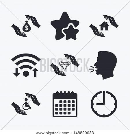 Hands insurance icons. Money bag savings insurance symbols. Disabled human help symbol. House property insurance sign. Wifi internet, favorite stars, calendar and clock. Talking head. Vector