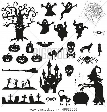Halloween spooky black silhouettes. Vector icons for halloween invitation card or halloween party poster vector.