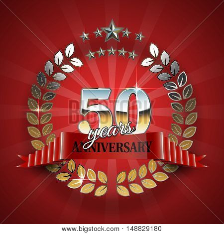 50th anniversary frame in the golden form of laurel branches. Frame for 50th anniversary. Anniversary ring with red ribbon. Anniversary festive celebration emblem. Vector illustration