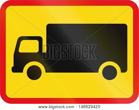 Temporary road sign used in the African country of Botswana - The primary sign applies to goods vehicles. poster