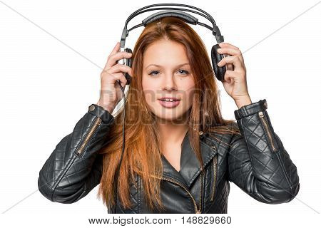 Face Of A Young Girl Loves Rock Music On A White Background