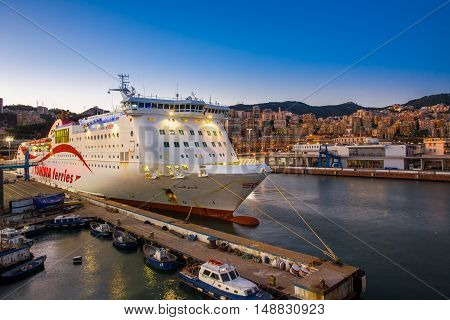 GENOVA, ITALIA - August 24, 2016 - Tunisia Ferry terminal in the harbour of Genoa. Genoa is one of Europe's largest cities on the Mediterranean Sea and the largest seaport in Italy.