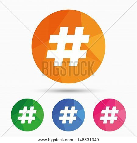 Hashtag sign icon. Social media symbol. Triangular low poly button with flat icon. Vector