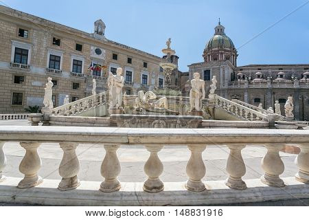 PALERMO, ITALY - july 27, 2015: View of Piazza Pretoria (Square of Shame), Palermo, Sicily, Italy. At the center of the square is the Fontana Pretoria (1554), by Francesco Camilliani