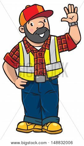 Childrens vector illustration of funny driver or worker. A man dressed in a plaid shirt, vest with reflective stripes and jeans Profession series.