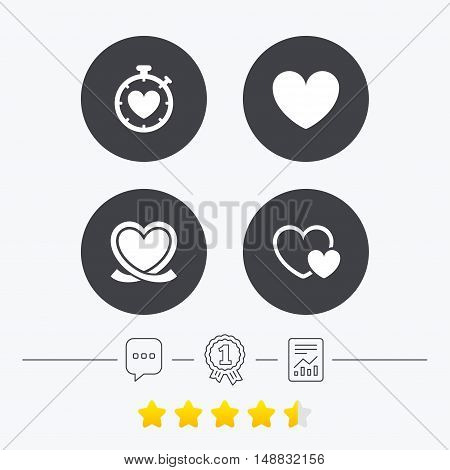 Heart ribbon icon. Timer stopwatch symbol. Love and Heartbeat palpitation signs. Chat, award medal and report linear icons. Star vote ranking. Vector