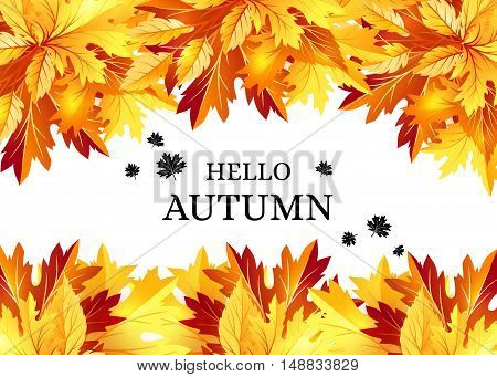 Autumn background with fall maple tree leaves. Horizontal vector banners with season foliage decorations and copy space
