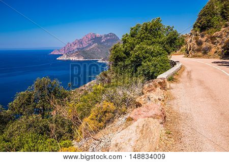 View from famous D81 coastal road with view of Golfe de Porto near Porto town Corsica France Europe.