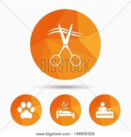 Hotel services icons. With pets allowed in room signs. Hairdresser or barbershop symbol. Reception registration table. Quiet sleep. Triangular low poly buttons with shadow. Vector
