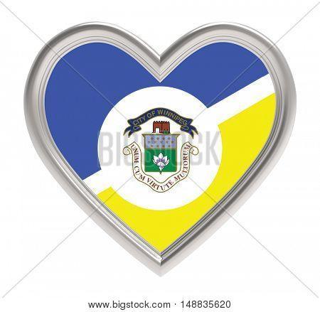 Winnipeg flag in silver heart isolated on white background. 3D illustration.