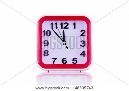 Square clock isolated on white background front view