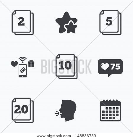 In pack sheets icons. Quantity per package symbols. 2, 5, 10 and 20 paper units in the pack signs. Flat talking head, calendar icons. Stars, like counter icons. Vector