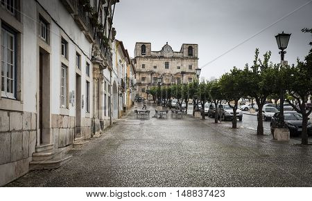 Republica square in Vila Viçosa town on a rainy day, Évora, Portugal