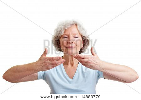 Relaxed Eldery Woman Breathing