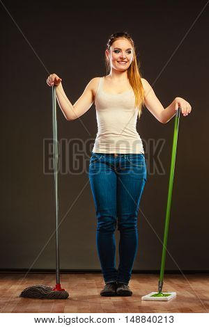 Funny Cleaning Woman Mopping Floor