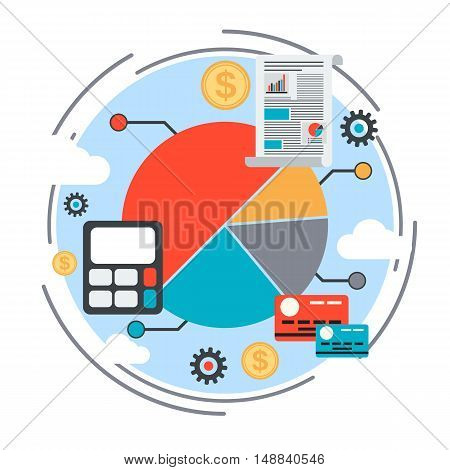 Business chart, report, data analysis, financial statistics, market trends analysis vector concept