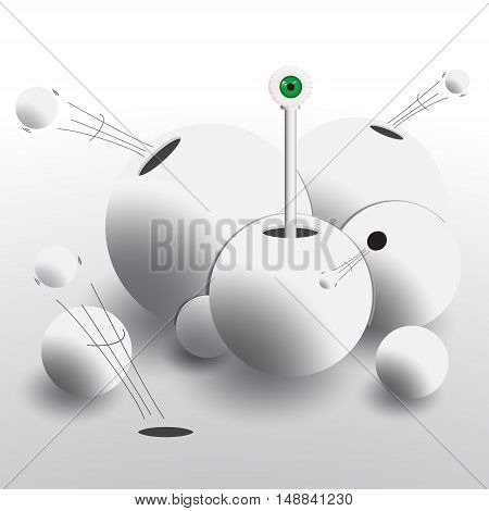 Abstract group of spheres with holes from which fly balls and appears all-seeing eye. Vector illustration in shades of gray