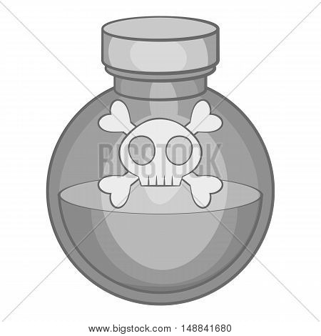 Bottle of poison icon in black monochrome style isolated on white background. Toxic symbol vector illustration
