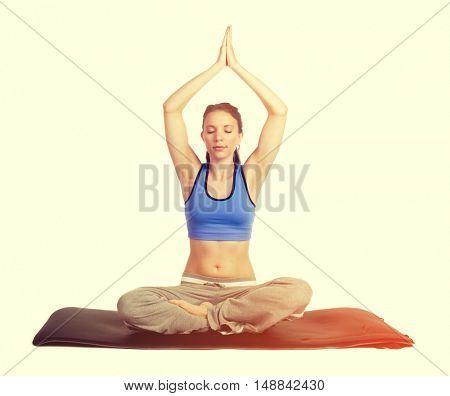 Healthy fitness yoga woman exercising