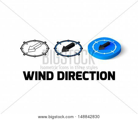 Wind direction icon, vector symbol in flat, outline and isometric style