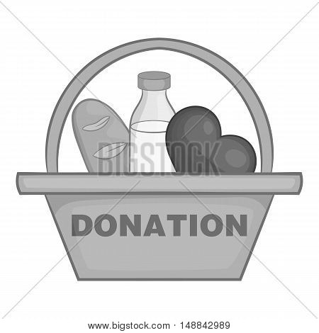 Basket of food for donations icon in black monochrome style isolated on white background. Help symbol vector illustration