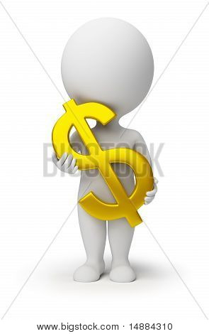 3D Small People - Dollar Symbol In Hands