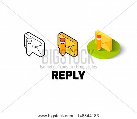 Reply icon, vector symbol in flat, outline and isometric style