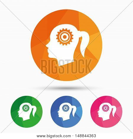 Head with gear sign icon. Female woman human head think symbol. Triangular low poly button with flat icon. Vector