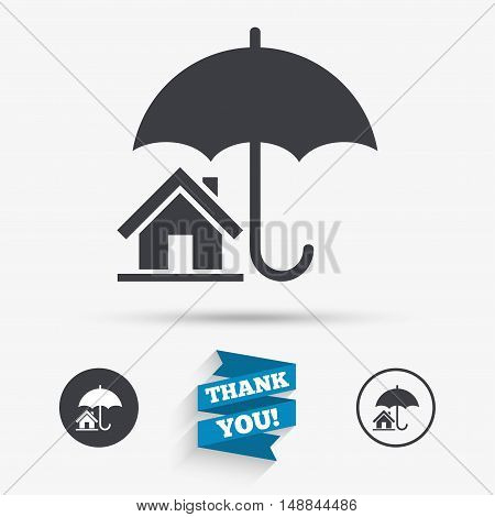 Home insurance sign icon. Real estate insurance symbol. Flat icons. Buttons with icons. Thank you ribbon. Vector