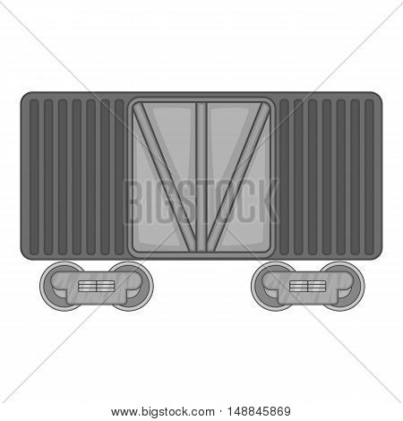Freight train icon in black monochrome style isolated on white background. Freight symbol vector illustration
