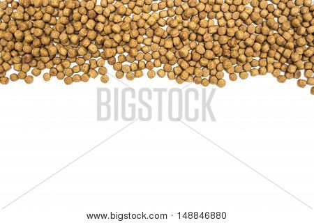 dog food on isolated white background, top view