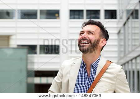 Cheerful Older Man Laughing Outdoor
