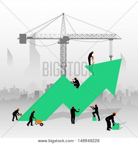 illustration of green arrow with constrction workers and city silhouette behind