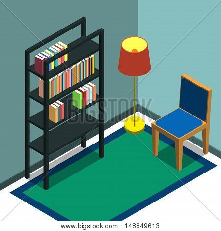 Bookshelf Vector illustration The corner of the room with a bookshelf, chair and floor lamp Isometric Flat design