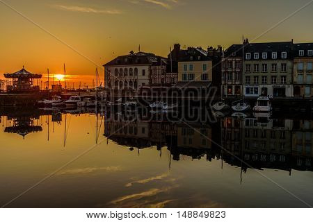 Old Harbour of Honfleur in Normandy, France