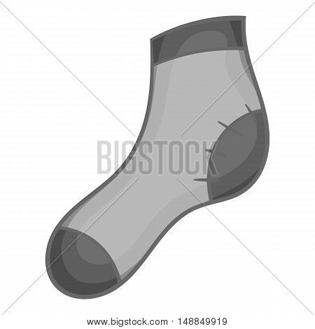 Christmas sock icon in black monochrome style isolated on white background. New year symbol vector illustration