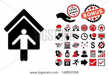 House Owner Wellcome pictograph with bonus images. Vector illustration style is flat iconic bicolor symbols intensive red and black colors white background.