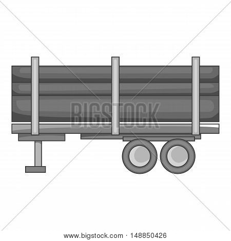 Logging truck with logs icon in black monochrome style isolated on white background. Felling symbol vector illustration