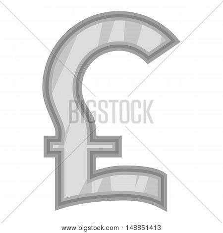Sign pound sterling icon in black monochrome style isolated on white background. Currency symbol vector illustration