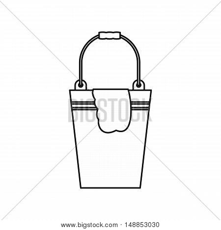 Bucket with a rag icon in outline style isolated on white background. Cleaning symbol vector illustration
