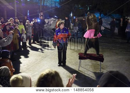 MOSCOW -?? FEB 22, 2015: Performance actor with a circus bear on Shrovetide in the evening